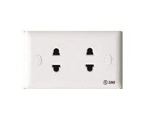 Ổ cắm điện đôi 2 chấu 16A SINO S1982