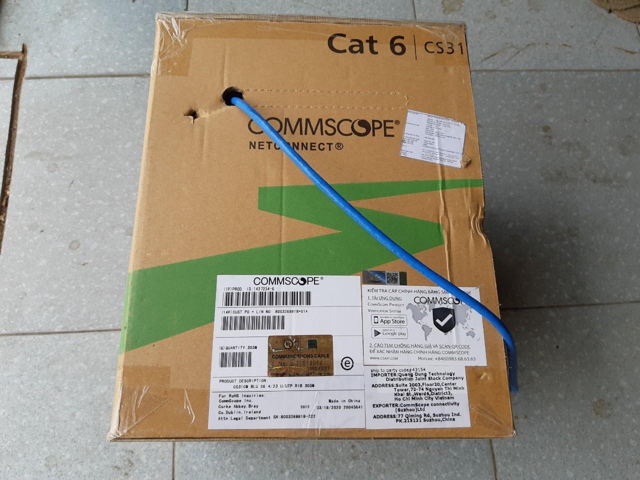 Cáp mạng Commscope  Cat6 UTP 4 Pair 1427254-6