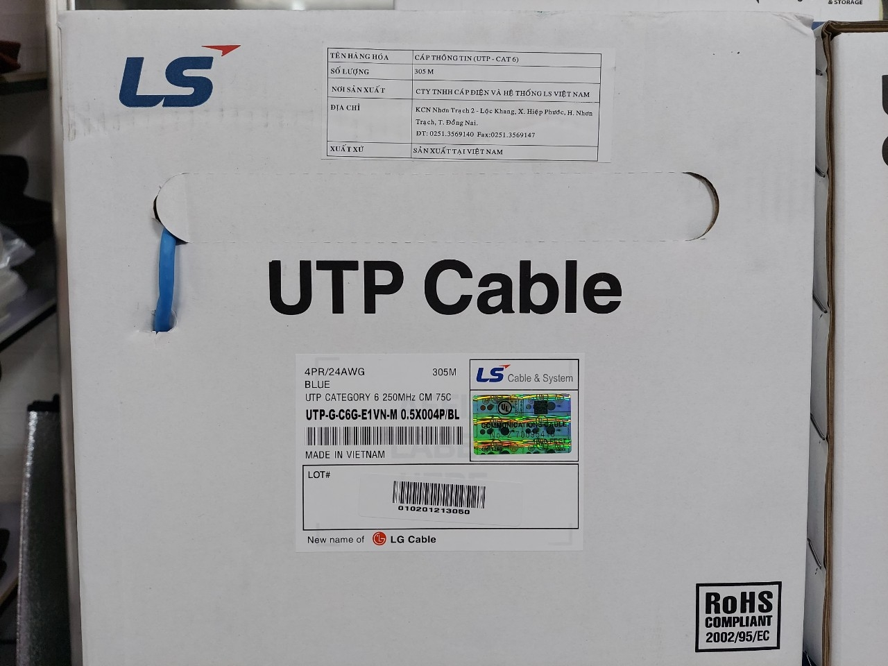 Dây cáp mạng LS Cat6 UTP 4 pair UTP-G-C6G-E1VN-M 0.5X4P/BL
